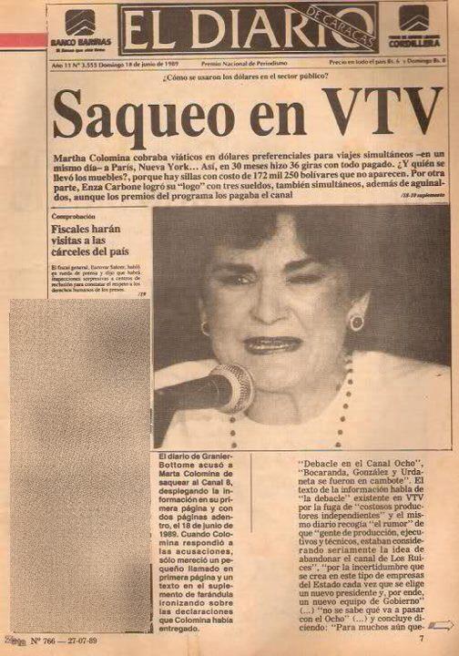 En 1989 Marcel Granier acusó a Marta Colomina de robarse hasta las sillas de VTV 65138610