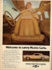 Chevrolet Monte Carlo ad with swivel buckets and sun roof.