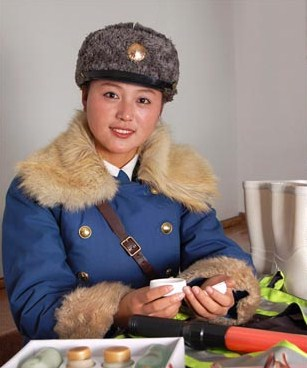 Pyongyang Traffic Woman With Her Cosmetics