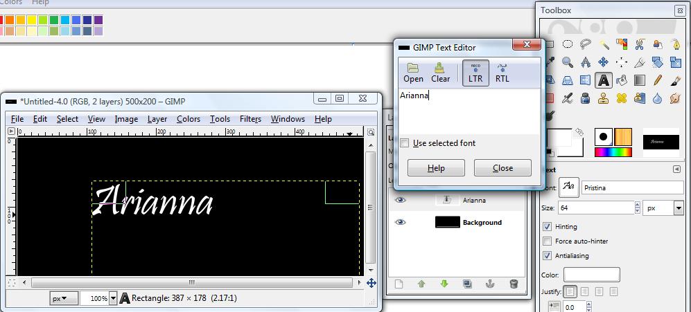 Basic GIMP Outlined Text Gimp_g11
