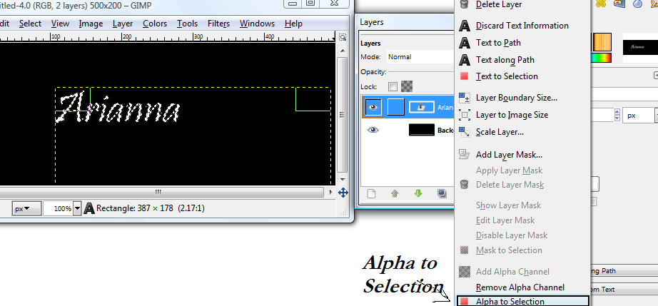Basic GIMP Outlined Text Gimp_g12