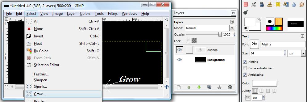 Basic GIMP Outlined Text Gimp_g13