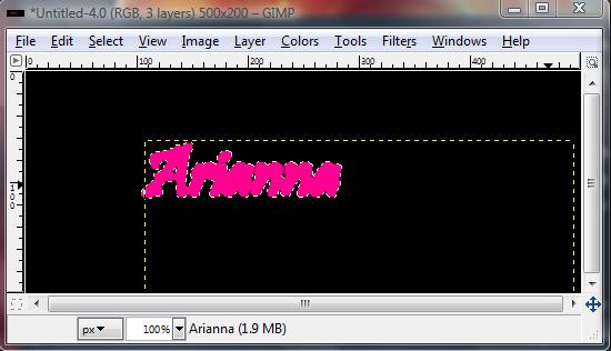 Basic GIMP Outlined Text Gimp_g14