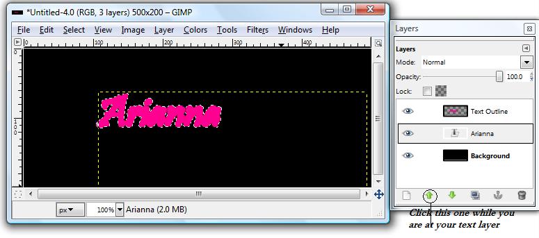 Basic GIMP Outlined Text Gimp_g15