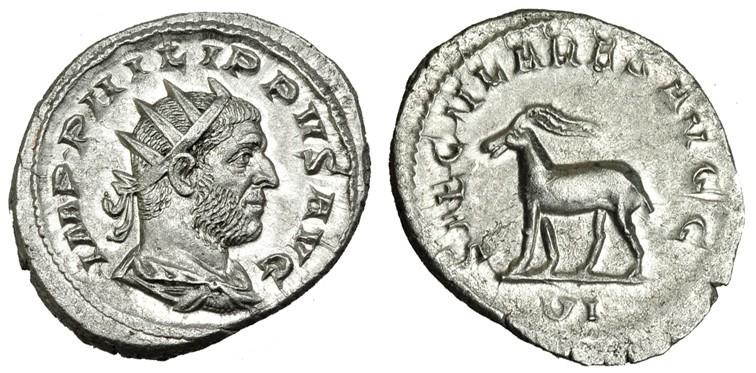 Antoniniano. Filipo I (Serie de los Juegos Seculares). Sexta oficina