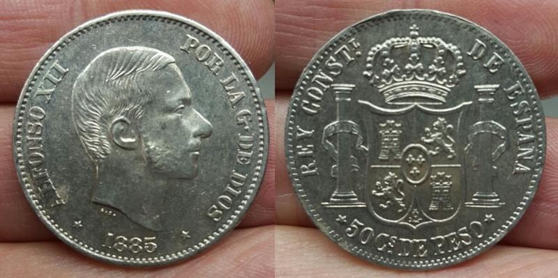 50 Centavos de Peso. Acuñación para las Islas Filipinas. Alfonso XII. Madrid. 1885.