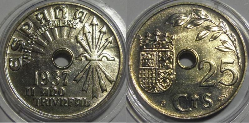 25 Céntimos. Francisco franco. Viena/Baden bei Wien (Austria). 1937 (Año real 1938). SC.