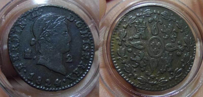 2 Maravedís. Fernando VII. Segovia. 1824.