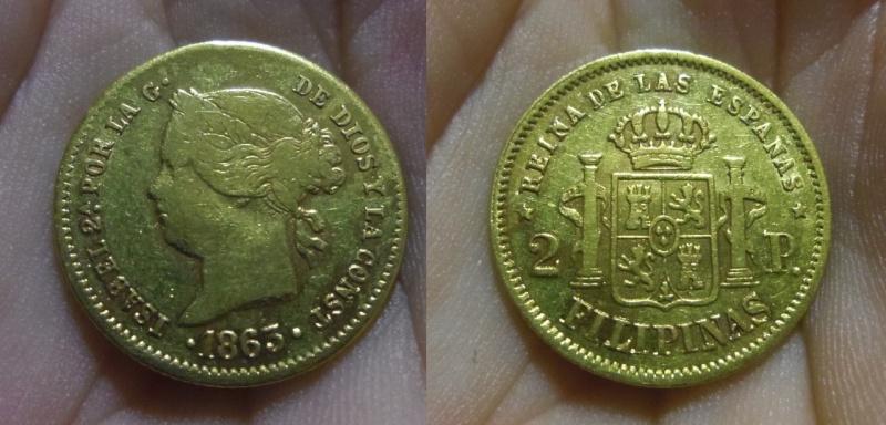 2 Pesos. Isabel II. Manila (Islas Filipinas). 1863.