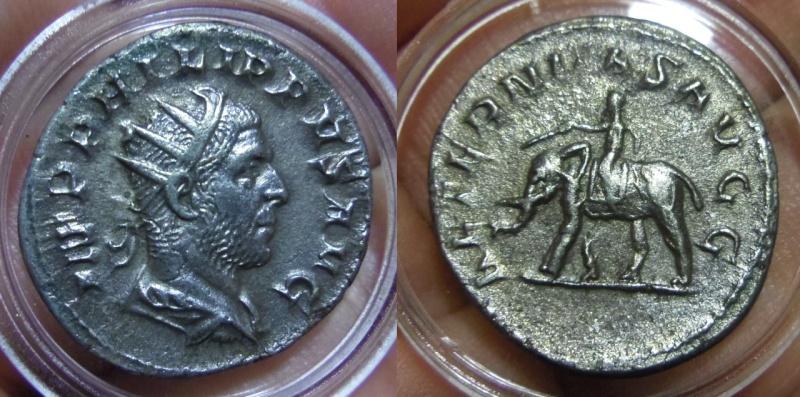 Antoniniano de Filipo I El Árabe. AETERNITAS AVGG. Elefante. Ceca Roma